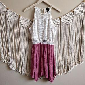 RUE21 Pink Cream Lace Eyelet Pink Crepe Midi Dress